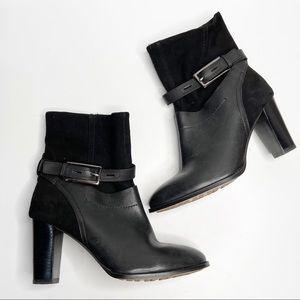CLARKS Kacia Garnet Black Leather Suede Boots 9